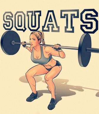 """*Squat phụ trọng: nguyên văn là """"phụ trọng thâm tồn"""", """"thâm tồn"""" là squat, phụ trọng là nâng vật nặng, đại khái trông thế này."""
